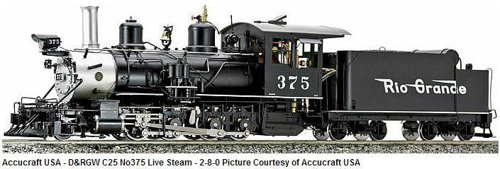 Accucraft D&RGW C-25 Live Steam, Coal Fired