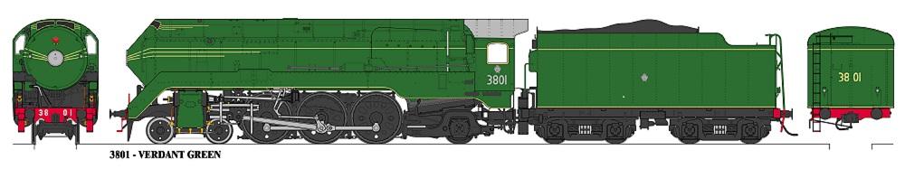 Accucraft Argyle NSW C3801 Streamlined Verdant Green Locomotive