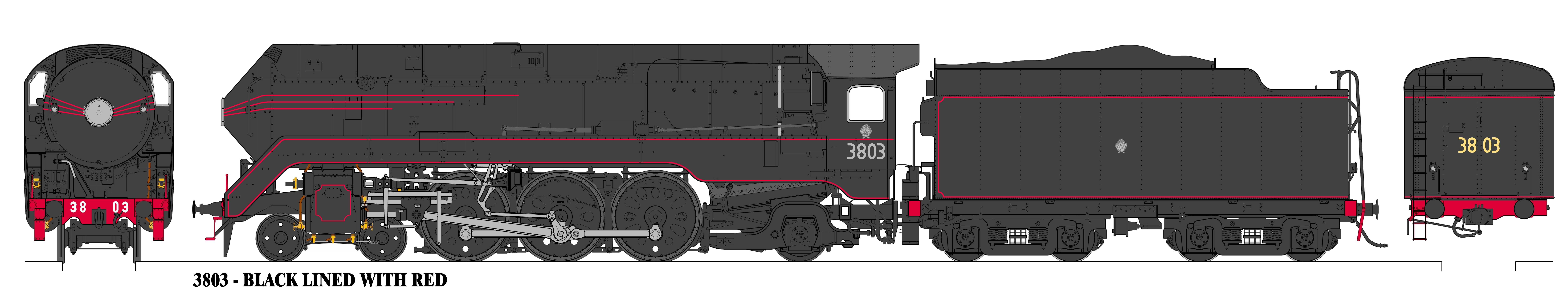Accucraft Argyle C803 Streamlined Black with Red Lining Locomotive