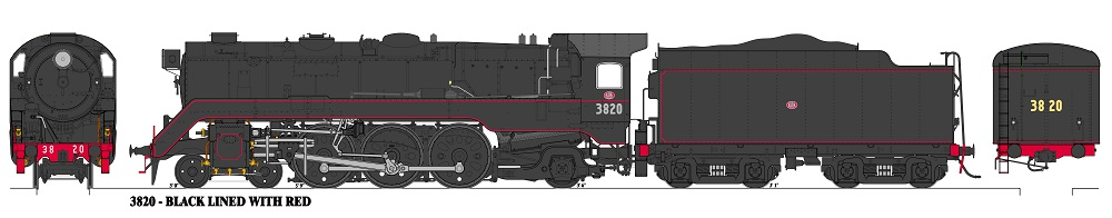 Accucraft Argyle C3820 Unstreamlined, Black with Red Lining Locomotive