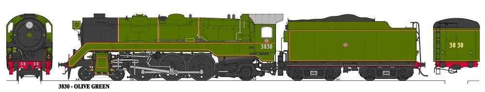Accucraft Argyle C3830 Unstreamlined Olinve Green Black Smokebox Locomotive